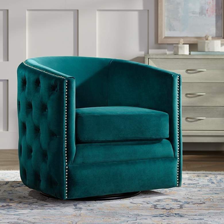 Bridgerton Teal Green Velvet Tufted Swivel Accent Chair