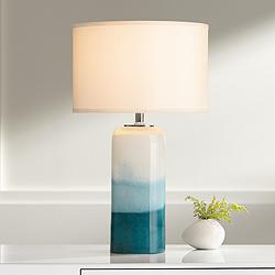 Roxanne Blue Art Glass Table Lamp with LED Night Light