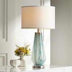 Possini Euro Jaime Blue and Gray Art Glass Table Lamp