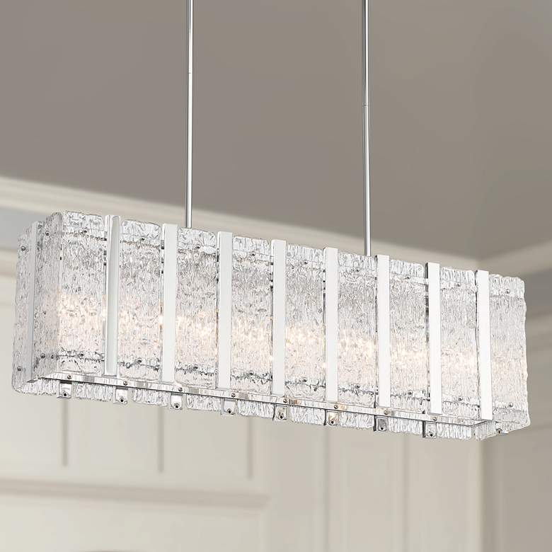 "Adaline 35 1/4"" Wide Glass Kitchen Island Light Pendant"