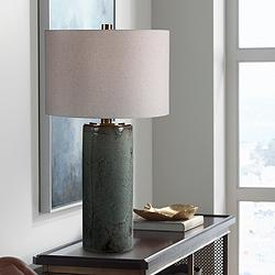 Uttermost Callais Aqua Blue Column Ceramic Table Lamp