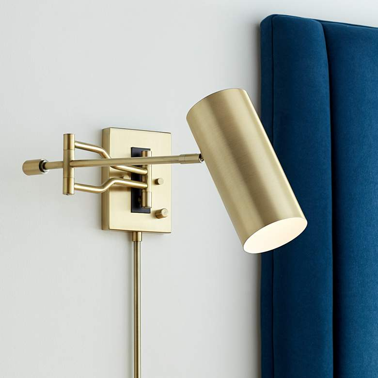 Kaylie Warm Brass Cylinder Shade Swing Arm Wall Lamp