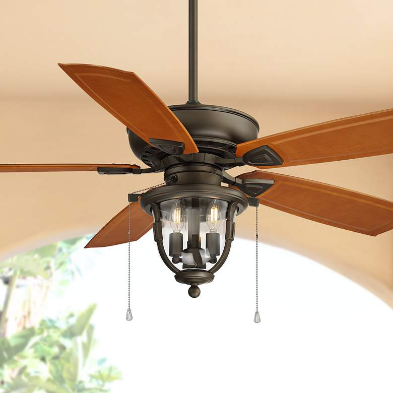 "52"" Casa Cordova Bronze Wet Rated LED Ceiling Fan"