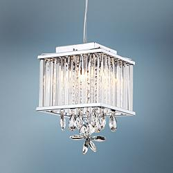 "Zeev Easton 8""W Chrome and Clear Crystal Mini Pendant Light"