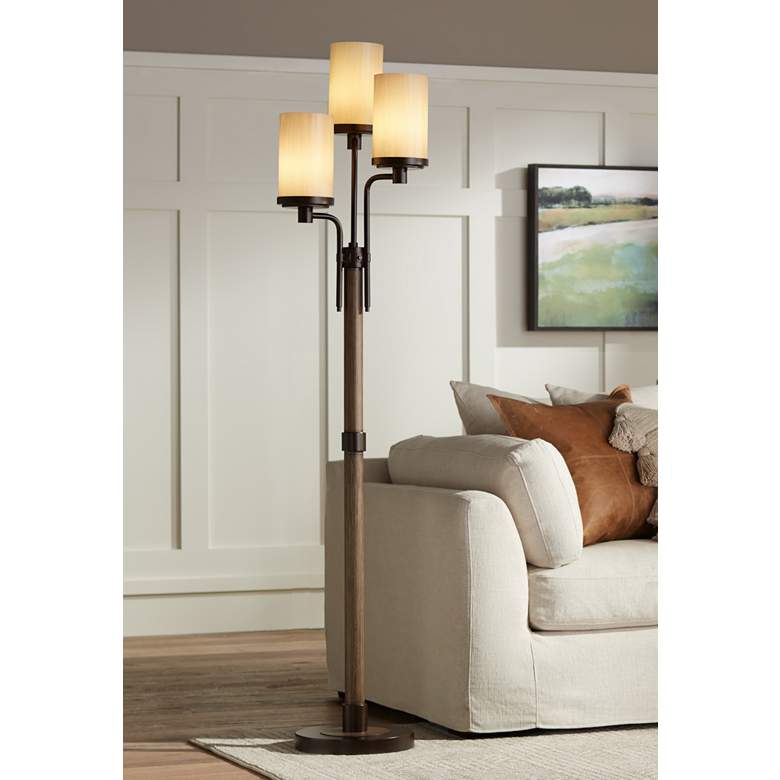 Astoria Faux Wood and Bronze 3-Light Tree Floor Lamp
