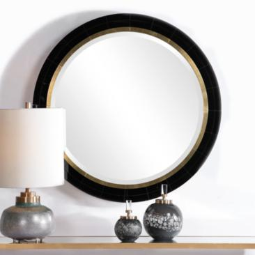 "Uttermost Nayla Black w/ Antique Brass 36"" Round Wall Mirror"