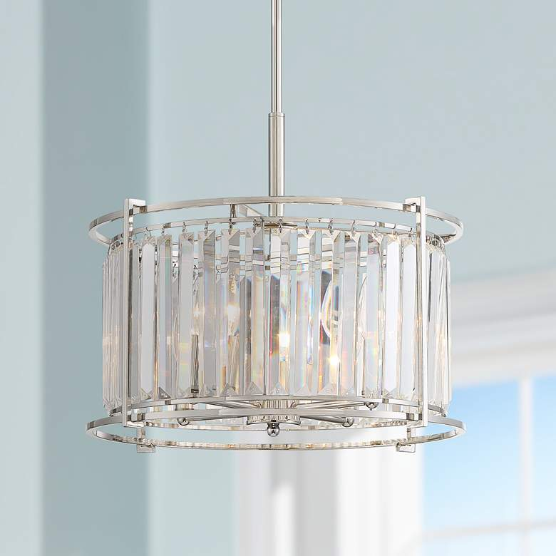 "Audrey 18"" Wide Polished Nickel and Crystal Pendant"