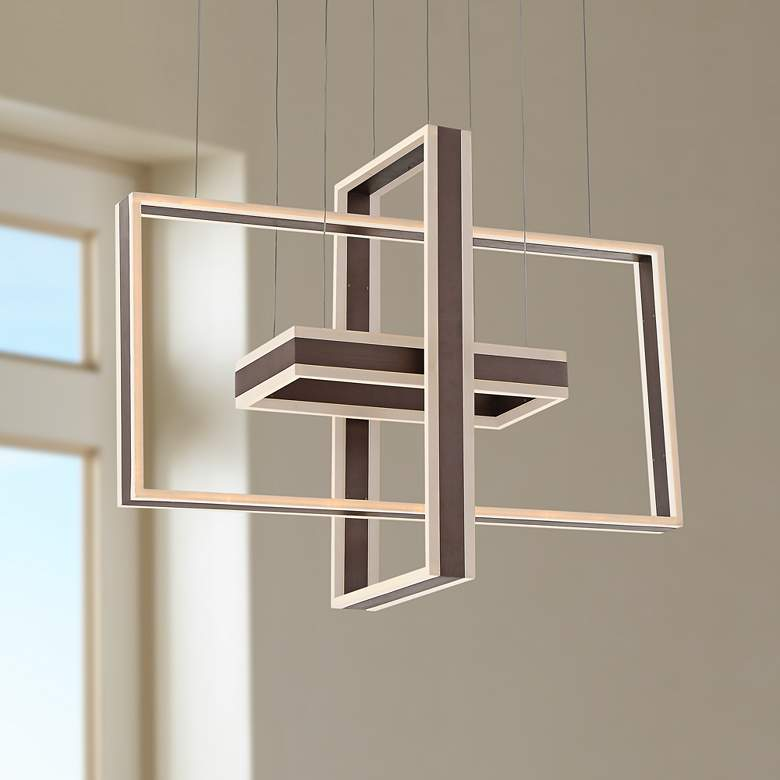 "Kate 31 1/2""W Bronze Multi Rectangular LED Pendant Light"