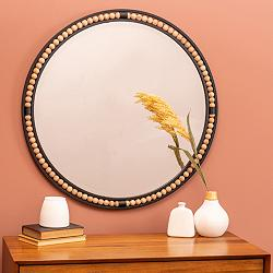 "Preslie Matte Black Wooden Beaded 31 1/2"" Round Wall Mirror"