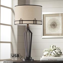 Picket Oil-Rubbed Bronze Table Lamp with USB Port