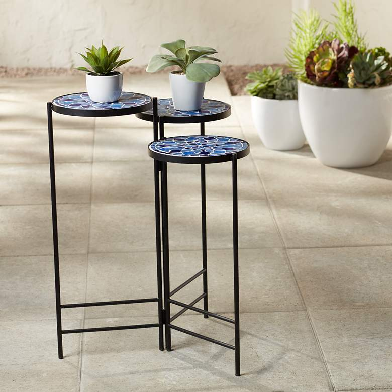 Blue Mosaic Black Iron Set of 3 Accent