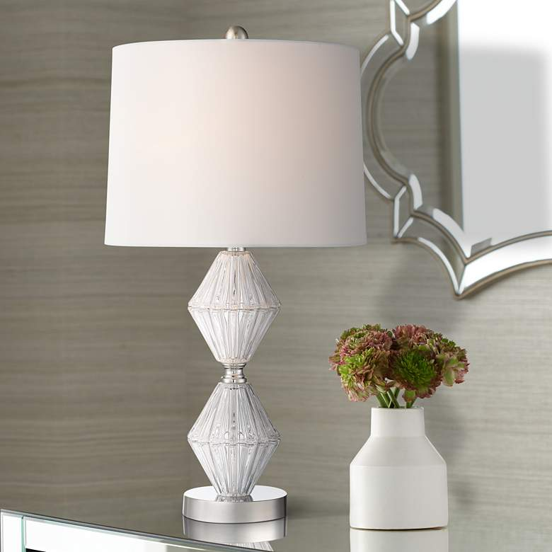 Faith Double-Stacked Diamonds Glass Crystal Table Lamp