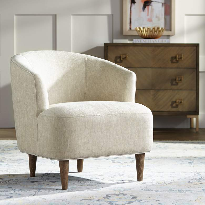 Herringbone Beige Fabric Accent Chair