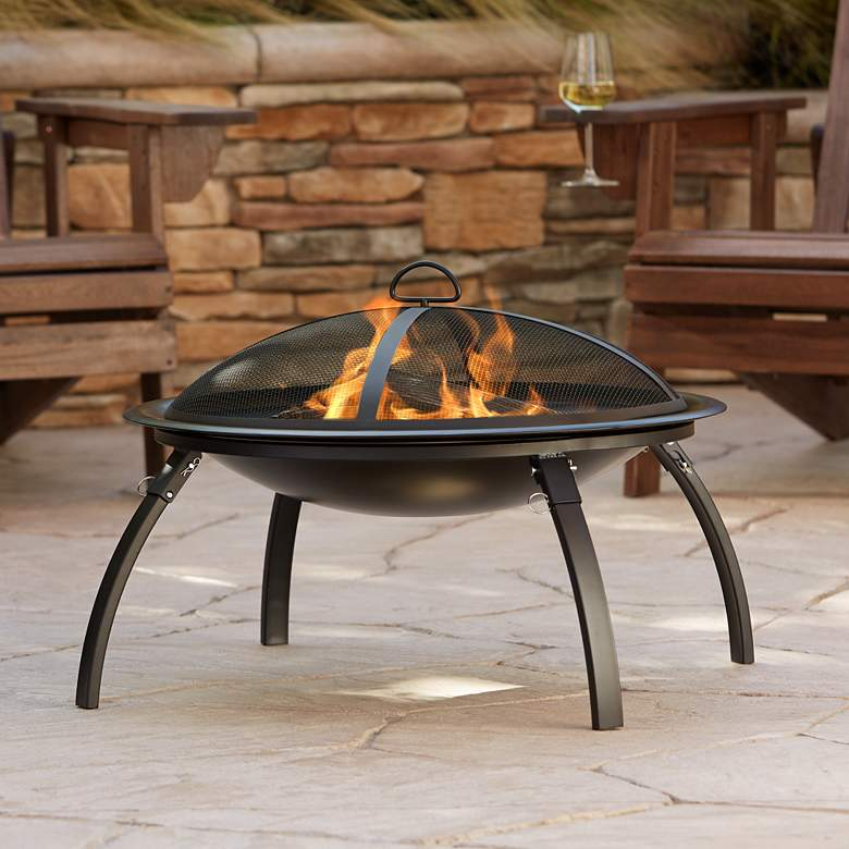 "Camano 26"" Wide Portable Outdoor Steel Fire Pit"