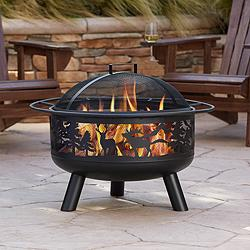 "Yukon 30"" Wide Steel Forest Animal Outdoor Fire Pit"