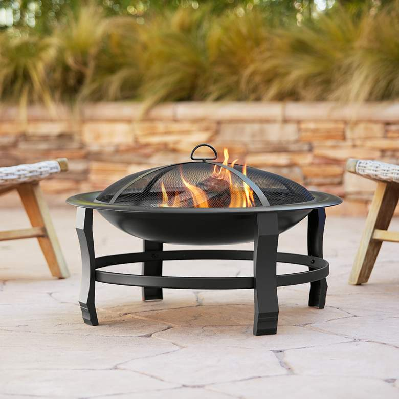 "Capitan 30"" Wide Round Steel Outdoor Fire Pit"