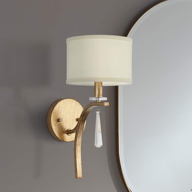 "Helaine 15 1/4"" High Gold and White Linen Wall Sconce"