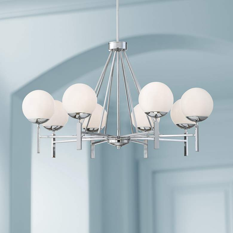 "Francesca 35 3/4""W Brushed Nickel Opal Glass 8-Lt Chandelier"