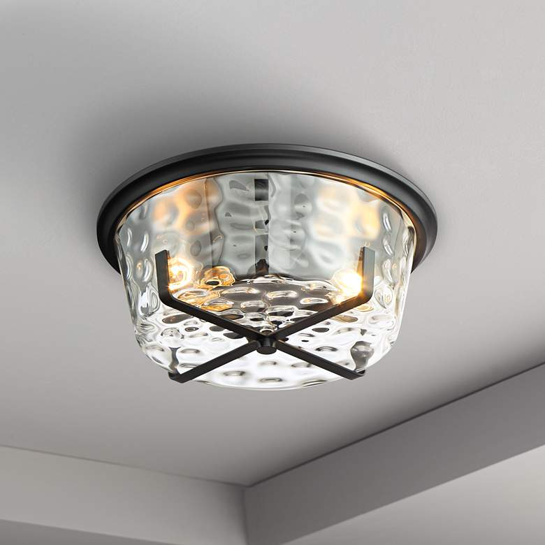 "Possini Euro Beston 13 1/4""W Hammered Glass Ceiling Light"