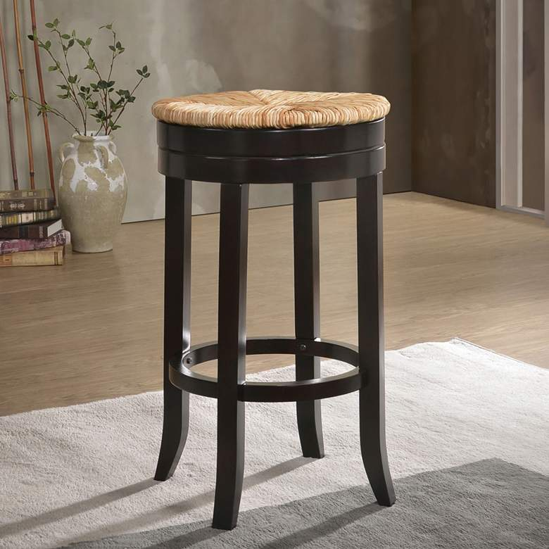 "Irving 30"" Espresso Wood and Rush Swivel Bar"