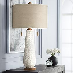 Possini Euro Kingston White Ceramic Pull Chain Table Lamp