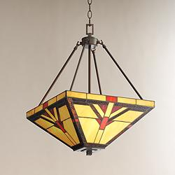 "Robert Louis Tiffany Cascade 16"" Wide Glass 3-Light Pendant"