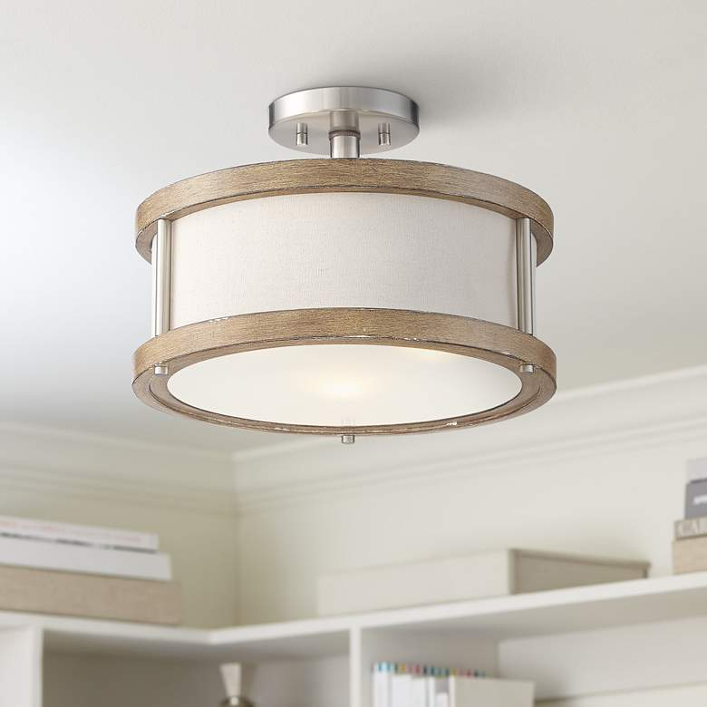 "Possini Euro Pacey 16"" Wide Ashwood 3-Light Ceiling Light"