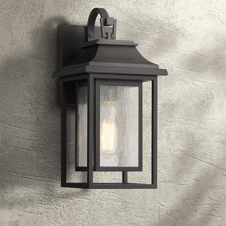 "Cecile 15"" High Bronze Framed Box Outdoor Wall Light"