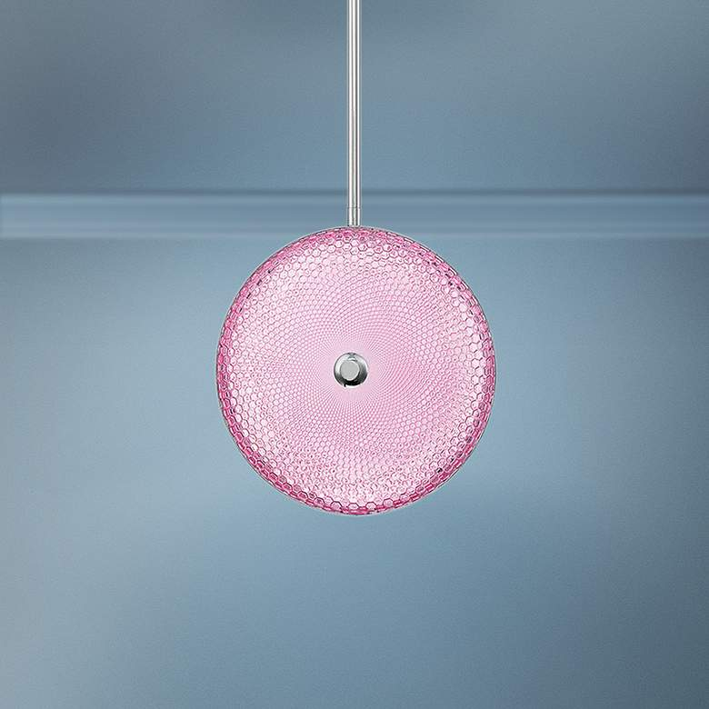"Caledonia 10""W Pink Honeycomb Glass LED Mini Pendant"