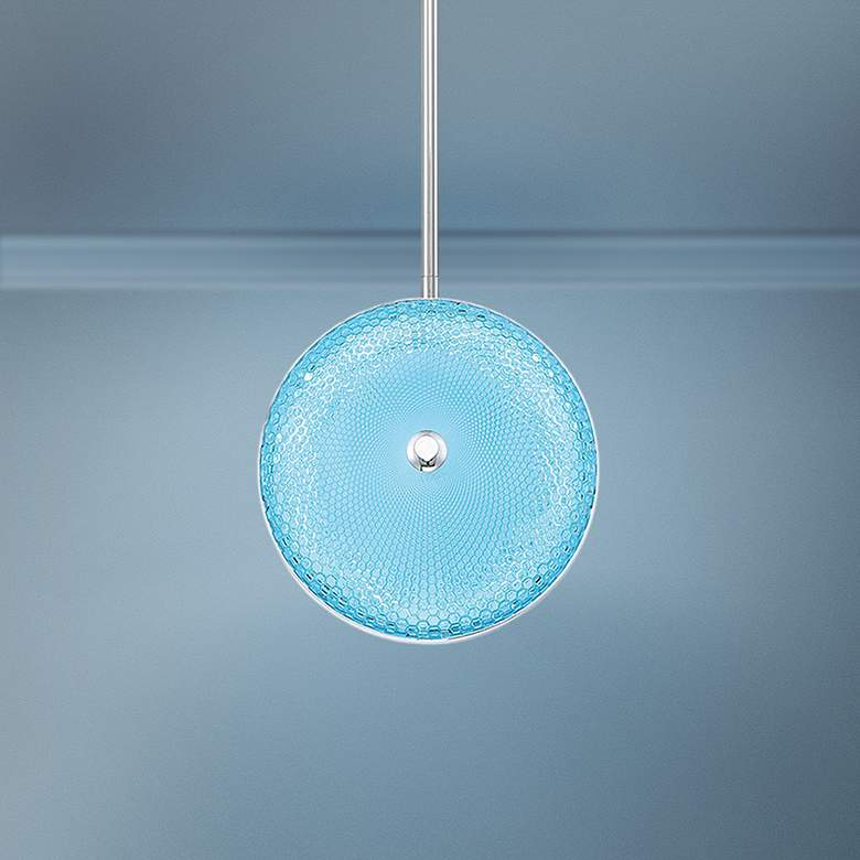 "Caledonia 10""W Blue Honeycomb Glass LED Mini Pendant"