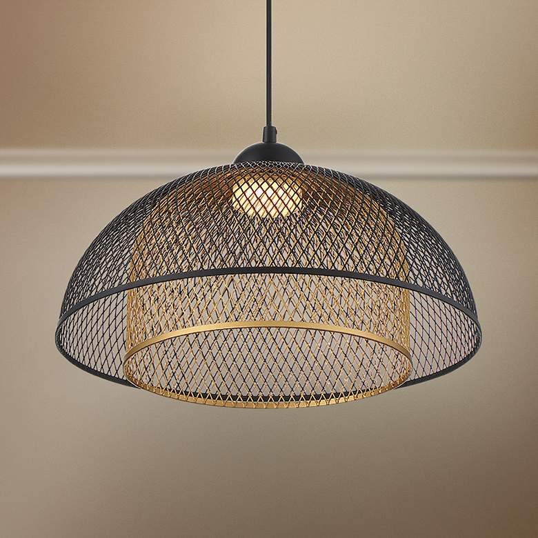 "Eurofase Kenmore 16"" Wide Black and Gold LED Pendant Light"