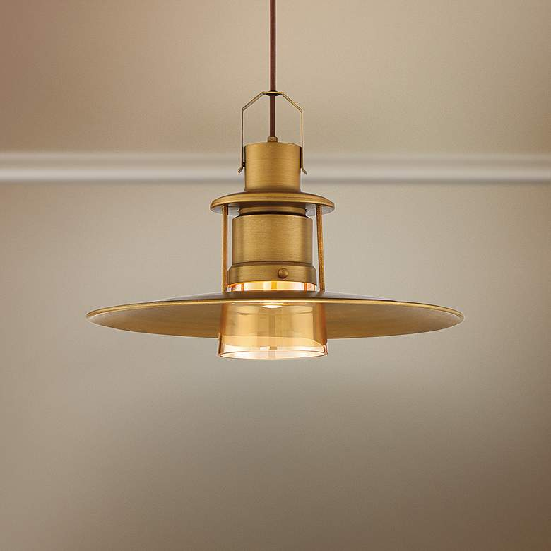 "Eurofase Lamport 11""W Brushed Brass LED Mini Pendant Light"