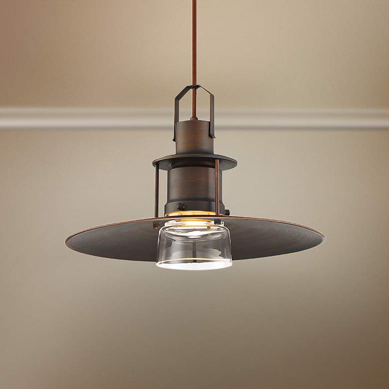 "Eurofase Lamport 11""W Brushed Bronze LED Mini Pendant"