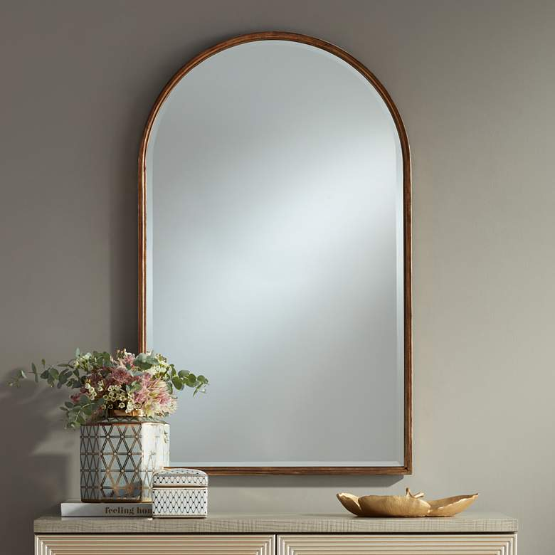 "Uttermost Clara Gold 24"" x 39"" Arch Top Wall Mirror"