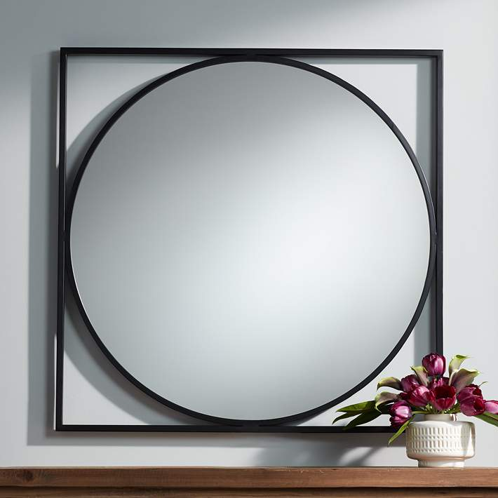 Uttermost Revel Black 34 Square Modern Wall Mirror 79p56 Lamps Plus