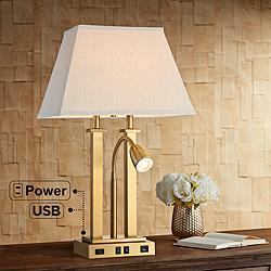 Deacon Brass Gooseneck Desk Lamp with USB Port and Outlet