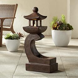 "Garden Pagoda 31"" High Rust LED Lighted Outdoor Fountain"