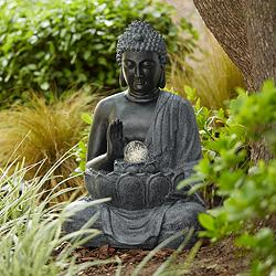 "Sitting Buddha 28"" High Bronze LED Water Fountain"