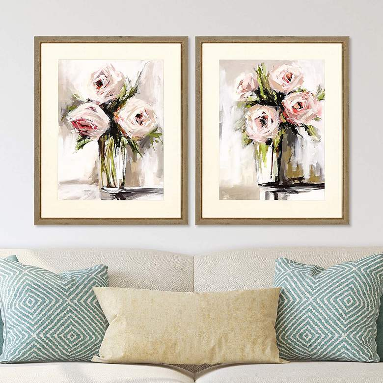 "Spring Bouquet 32"" High 2-Piece Framed Giclee Wall Art Set"