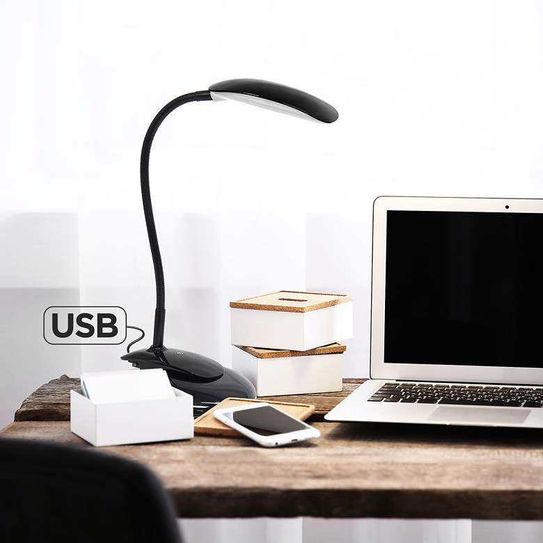 Simple Designs Black Adjustable LED Rounded Clip Light
