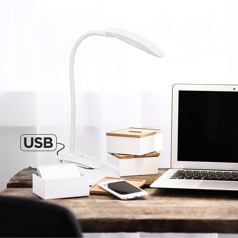 Simple Designs White Adjustable LED Rounded Clip Light