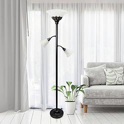 Elegant Designs Bronze 3-Light Torchiere Floor Lamp