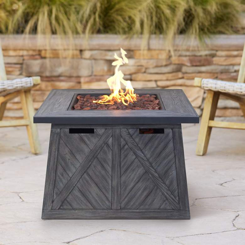 "Cedar Ridge 32"" Wide Modern Gas Outdoor Fire Pit Table"
