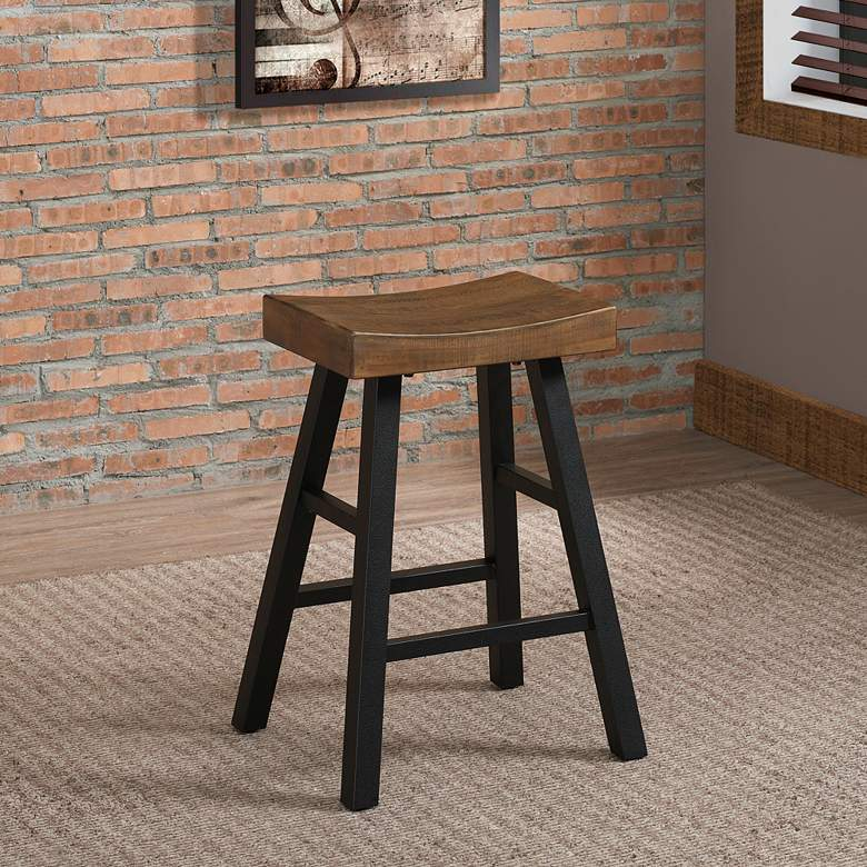 "Atterbury 25"" Reclaimed Wood Seat Counter Stool"