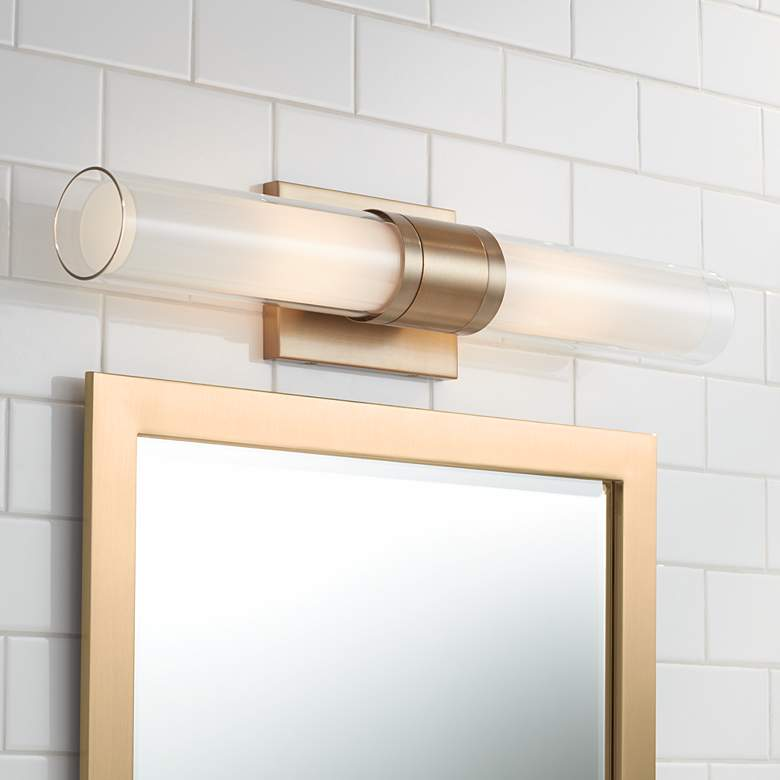 "Possini Euro Brianna 23 1/2"" Wide Brass 2-Light Bath Light"