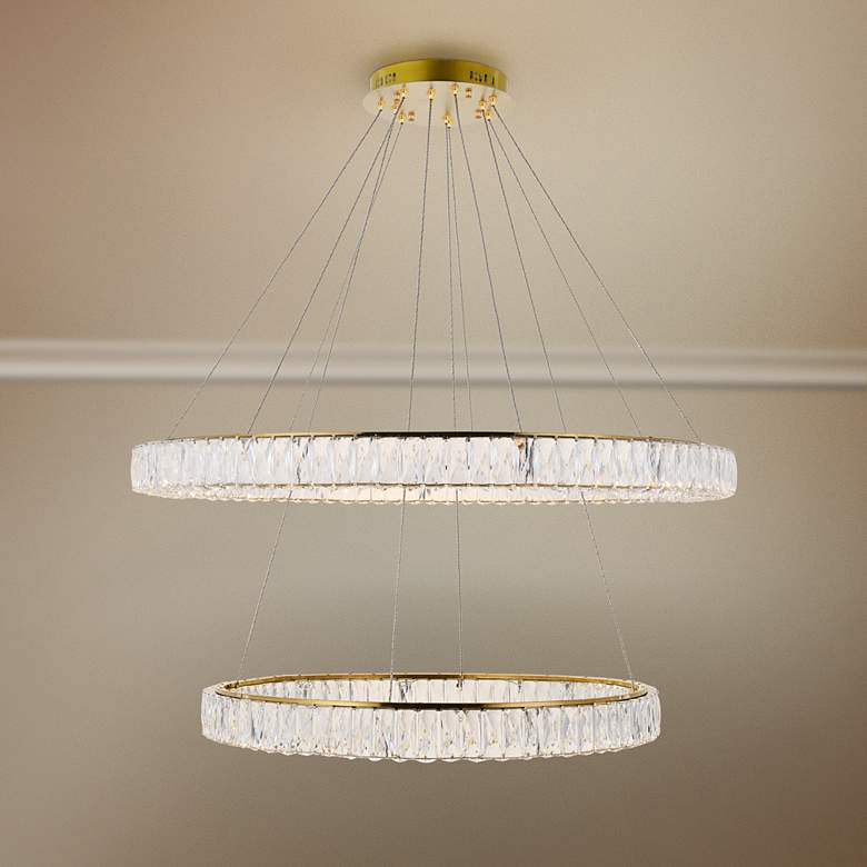 "Monroe 42"" Wide Gold and Crystal 2-Tier LED Chandelier"