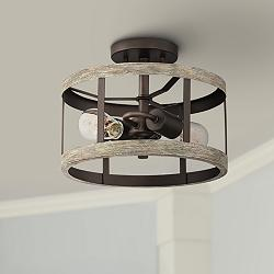"Blantyre 12""W Bronze and Wood 2-Light Ceiling Light"