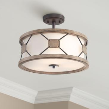 "Possini Euro Gracemont 16"" Wide Wood Grain Ceiling Light"