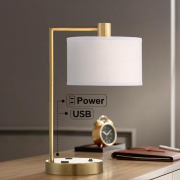 Colby Antique Brass Desk Lamp with Outlet and USB Port