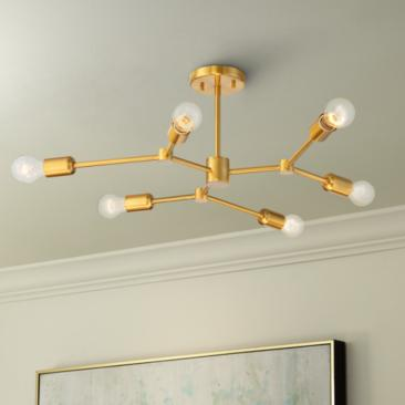 "Marco 25"" Wide Burnished Brass 6-Light Sputnik Ceiling Light"